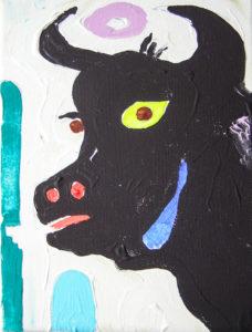 Andaluusia härg. Akrüül lõuendil / Andalusian bull. Acrylic on canvas. 18 x 15 cm, 2013
