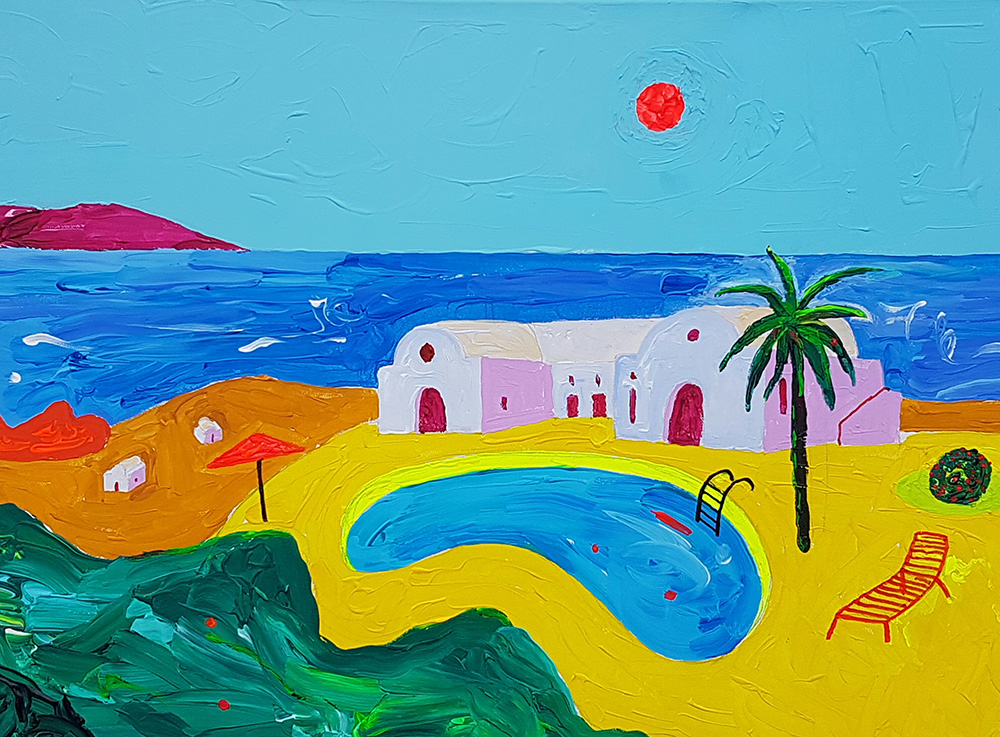 Bassein Santorinil. Akrüül lõuendil / Pool at Santorini. Acrylic on canvas. 50 x 70 cm, 2016
