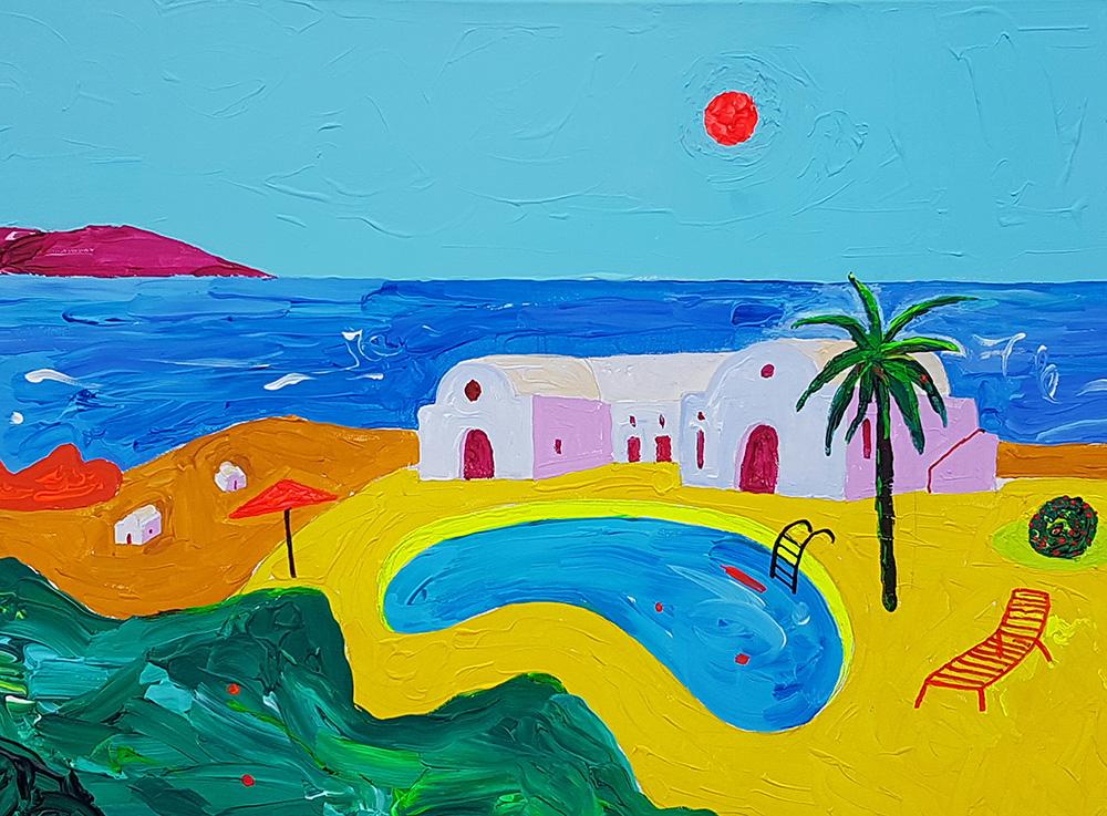 Bassein Santorinil. Akrüül lõuendil / Pool at Santorini. Acrylic on canvas. 50 x 70 cm, 2016