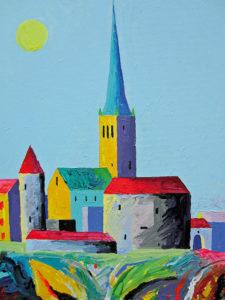 Geomeetriline Tallinn. Akrüül lõuendil / Geometric Tallinn. Acrylic on canvas. 40 x 50 cm. 2015
