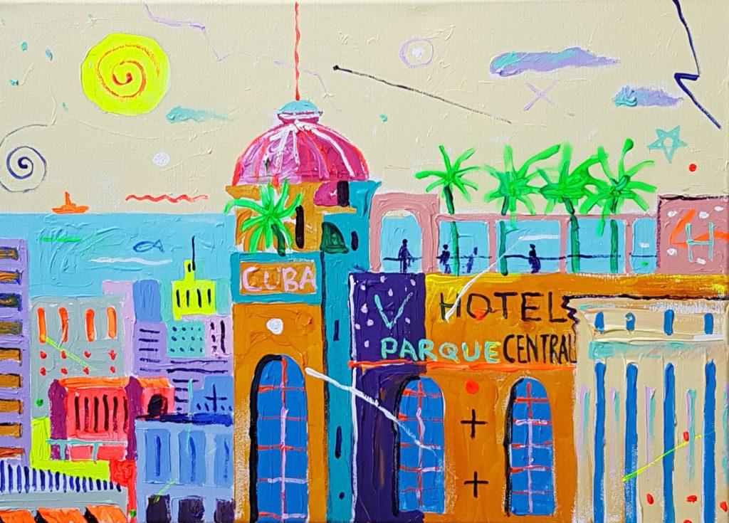 Hotell Havannas. Akrüül lõuendil. / Hotel in Havana. Acrylic on canvas. 50 x 70 cm, 2019
