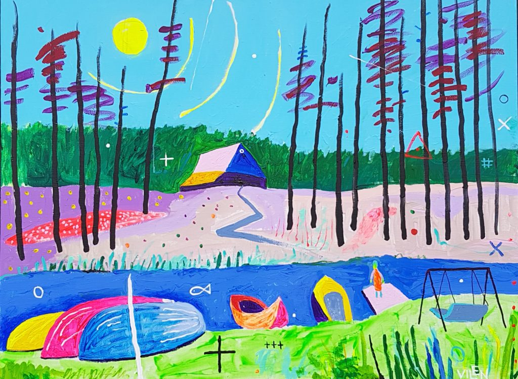 Jõgi. Akrüül lõuendil. / River. Acrylic on canvas. 80 x 120 cm, 2018