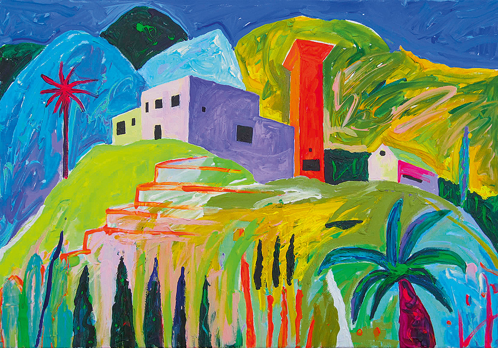 Korsten La Gomeral. Akrüül lõuendil / Chimney in La Gomera. Acrylic on canvas. 80 x 100 cm. 2013