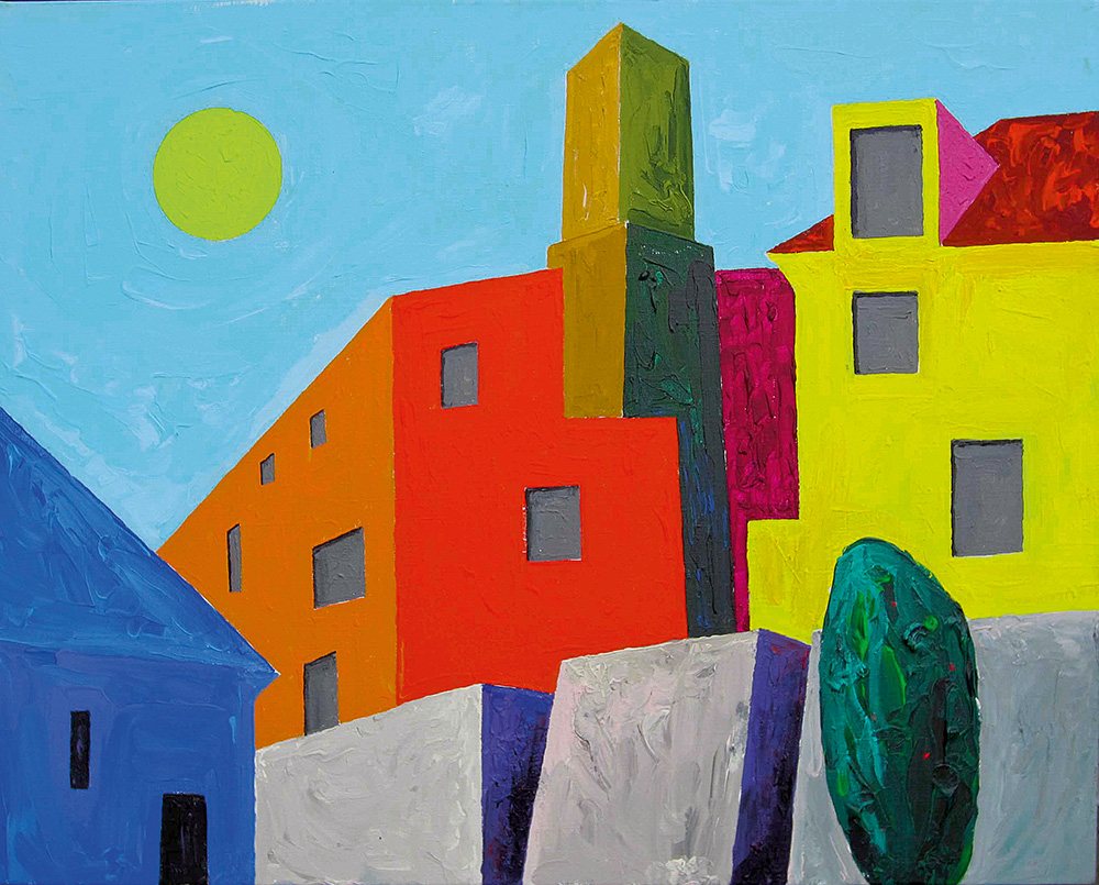 Korsten Toompeal. Akrüül lõuendil / Chimney in Toompea. Acrylic on canvas. 70 x 90 cm. 2013 (Erakogu / Private Collection)