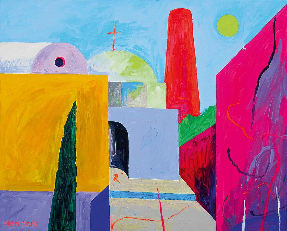 Korsten, kuppel ja kuu. Akrüül lõuendil / Sunset on Santorini. Acrylic on canvas. 100 x 80 cm. 2015