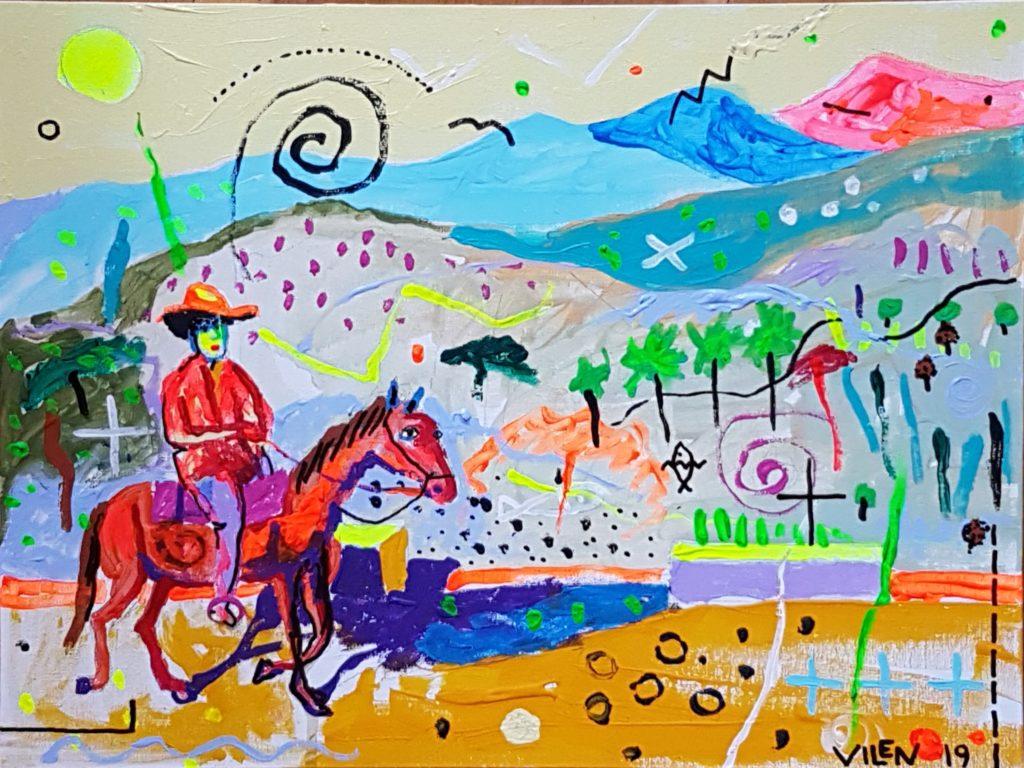 Kuuba maastik. Akrüül lõuendil. / Landscape of Cuba. Acrylic on canvas 30 x 40 cm, 2018