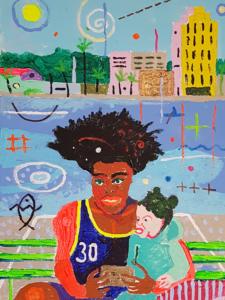 Kuuba motiiv. Akrüül lõuendil. / Cuban motif. Acrylic on canvas. 30 x 40 cm, 2018