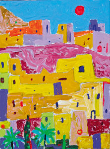 Kyla Marokos. Akrüül lõuendil / Village in Morocco. Acrylic on canvas. 30 x 20 cm. 2014