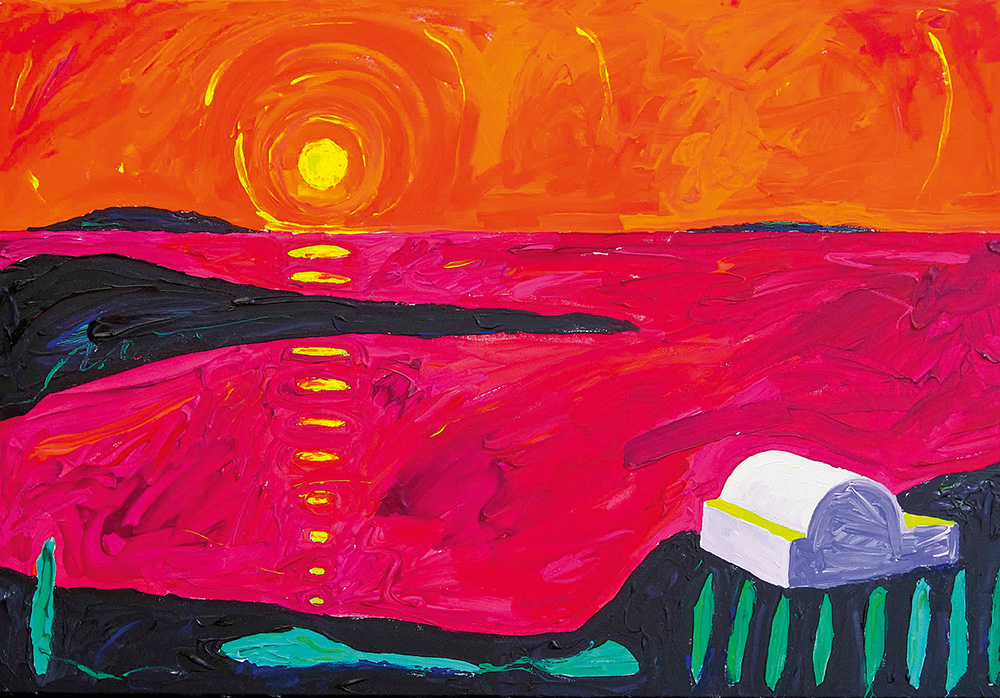Loojang Santorinil. Akrüül lõuendil / Sunset on Santorini. Acrylic on canvas. 70 x 90 cm. 2012