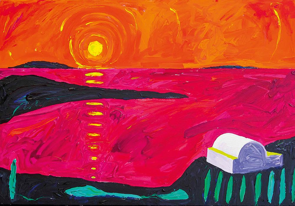 Loojang Santorinil. Akrüül lõuendil / Sunset on Santorini. Acrylic on canvas. 70 x 90 cm. 2012