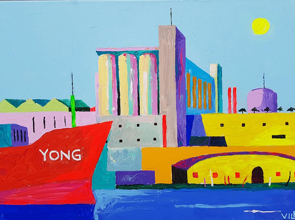 Lõuna Korea laev Jong jõudmas Valletta sadamasse. Akrüül lõuendil / South Korean ship Jong reaches the harbor in Valletta. Acrylic on canvas. 50 x 70 cm, 2016