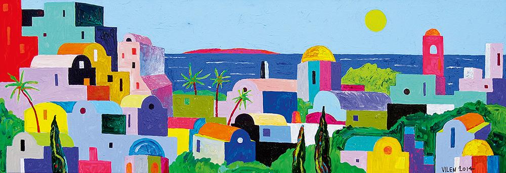 Lõunamaine linn. Akrüül lõuendil. / Southern city. Acrylic on canvas. 50 x 150 cm. 2014 (Erakogu / Private Collection)
