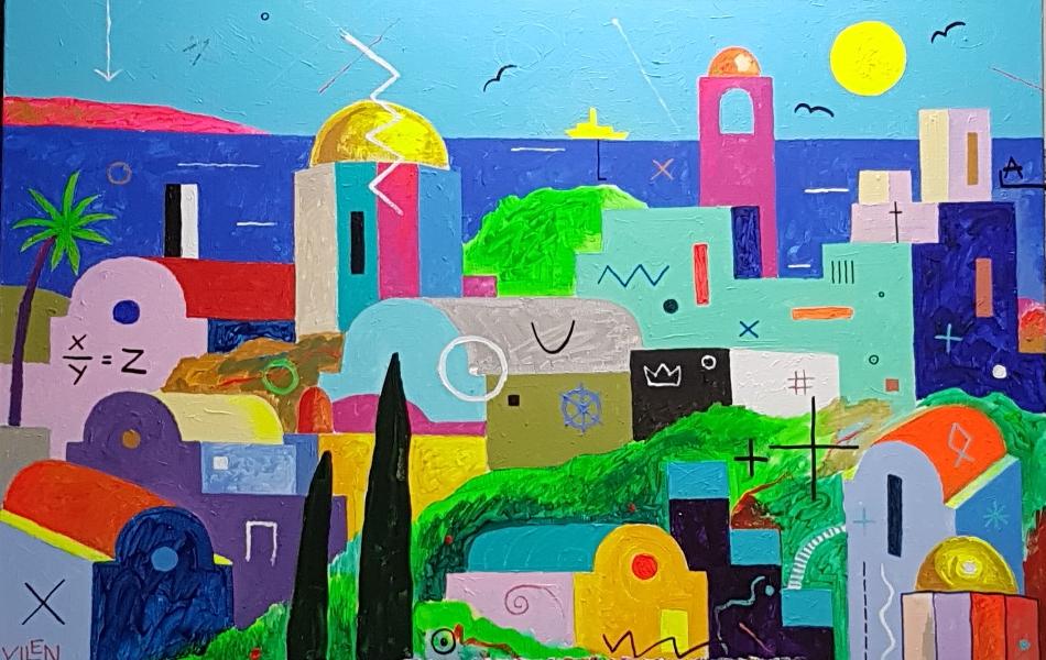Lõunamaine linn. Akrüül lõuendil. / Southern City. Acrylic on cansvas. 100 x 150 cm, 2018