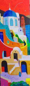 Maagiline Santorini lV. Akrüül lõuendil. / Magic Santorini lV. Acrylic on canvas. 225 x 80 cm, 2018