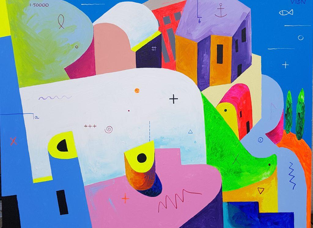 Maagiline Santorini lI. Akrüül lõuendil. / Magic Santorini lI. Acrylic on canvas. 150 x 200 cm, 2018