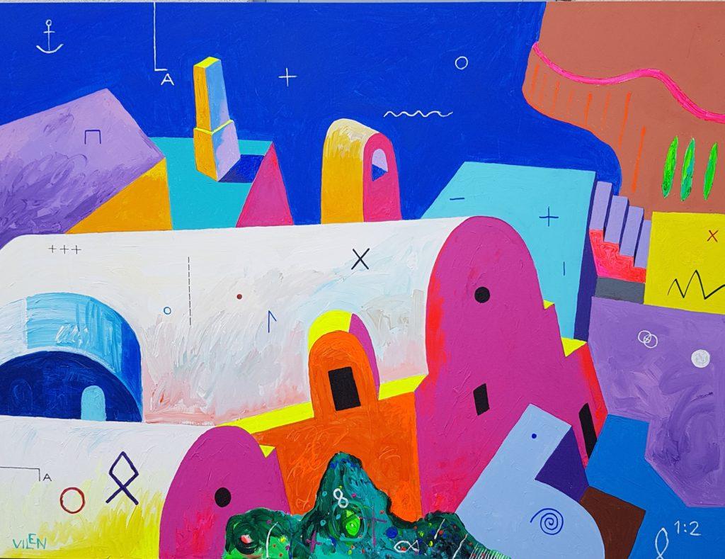 Maagiline Santorini. Akrüül lõuendil. / Magic Santorini. Acrylic on canvas. 150 x 200 cm, 2018