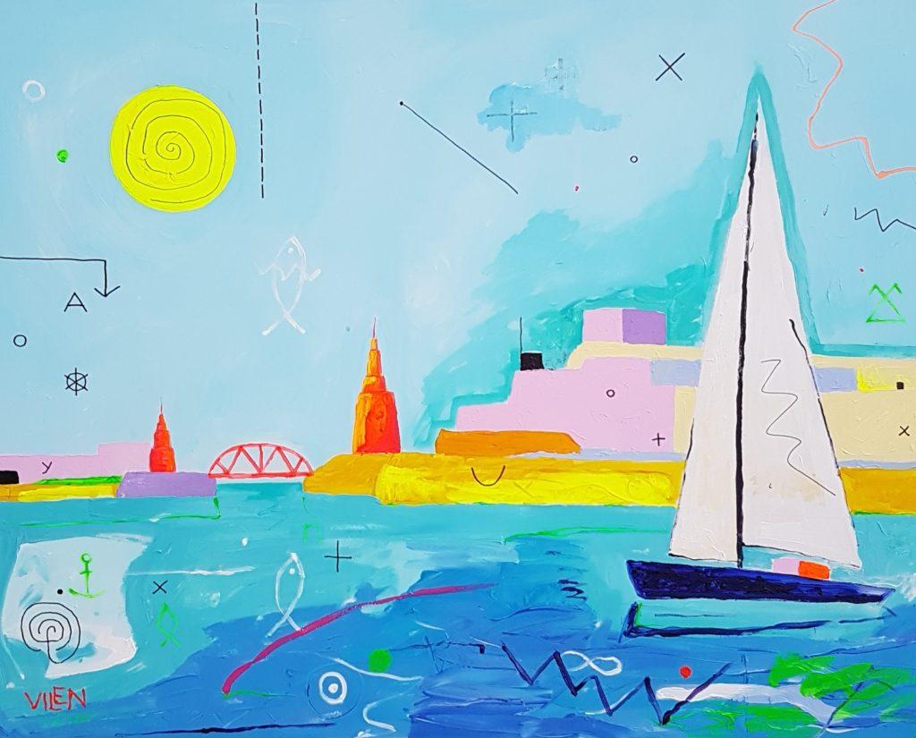 Malta. Akrüül lõuendil. / Acrylic on canvas. 100 x 150 cm, 2018