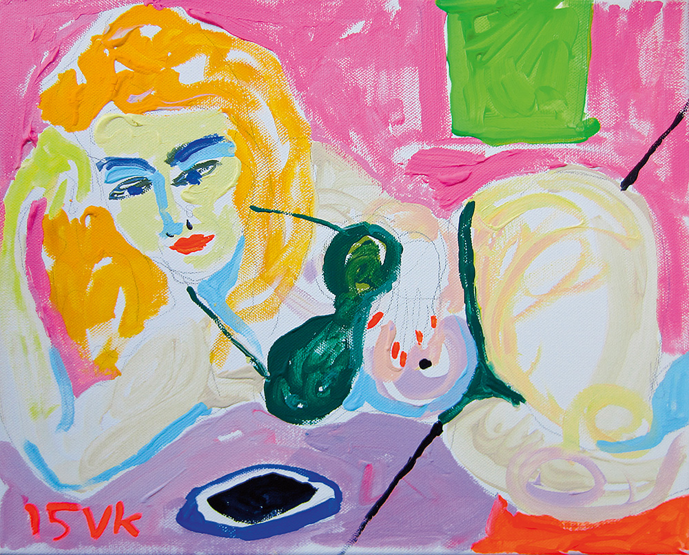 Mirjam ja mobiiltelefon. Akrüül lõuendil / Mirjam and mobile phone. Acrylic on canvas. 30 x 40 cm. 2015