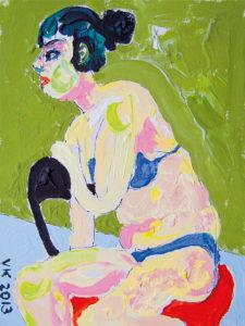 Mustlastüdruk. Akrüül lõuendil / Gypsy girl. Acrylic on canvas. 24 x 18 cm. 2013