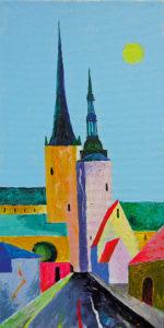 Oleviste ja Niguliste. Pühendusega Märt Laarmanile. Akrüül lõuendil / St Olaf's and St Nicholas'. Hommage à Märt Laarman. Acrylic on canvas. 40 x 20 cm. 2015