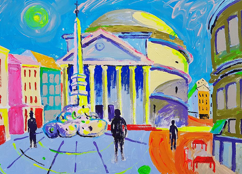 Pantheon Roomas. Akrüül lõuendil / Pantheon in Rome. Acrylic on canvas. 50x70cm, 2016