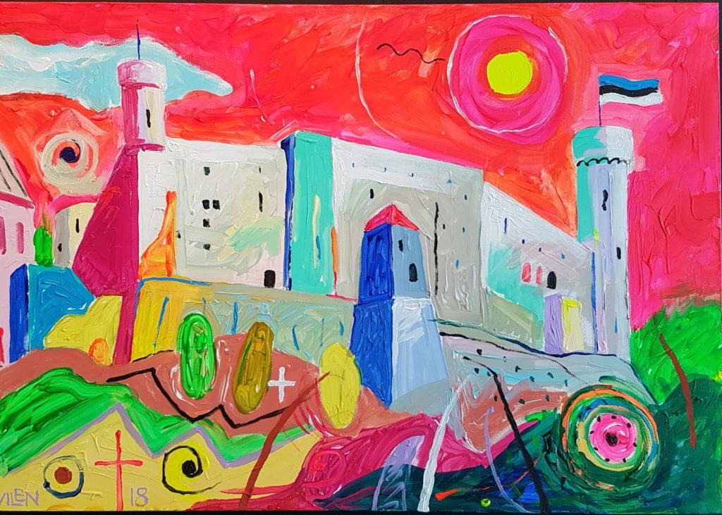 Rahutu Tallinn. Akrüül lõuendil. / Resless-Tallinn. Acrylic on canvas. 90 x 120 cm, 2018