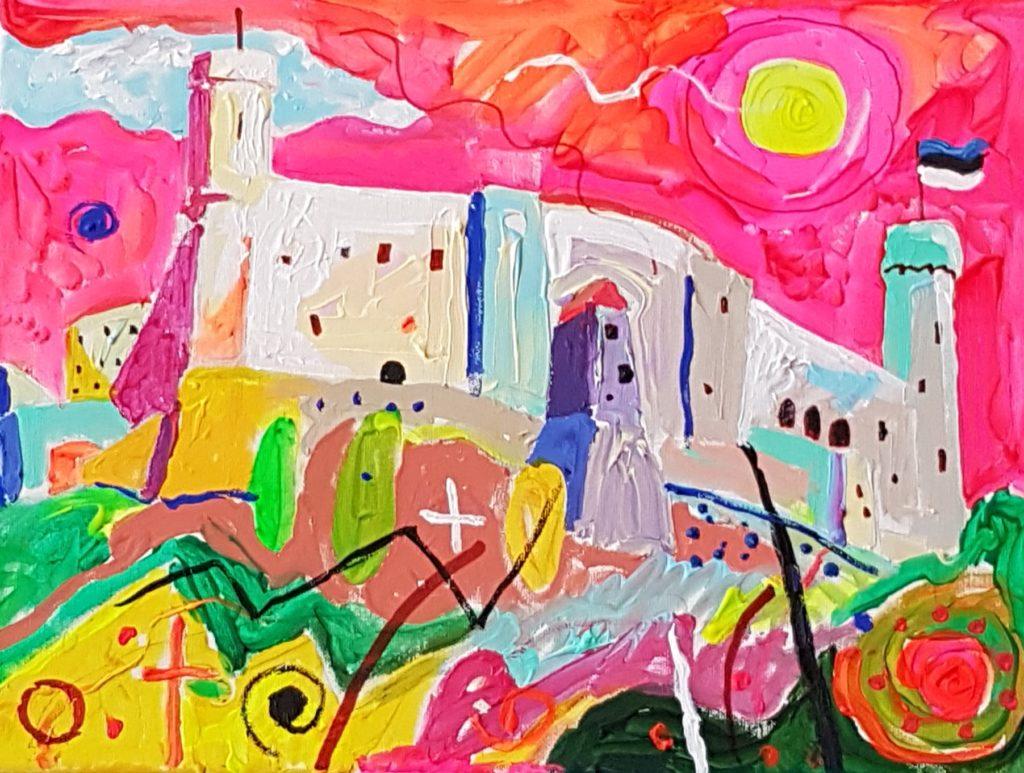 Rahutu Tallinn. Akrüül lõuendil. / Restless Tallinn. Acrylic on canvas. 30 x 40 cm, 2017