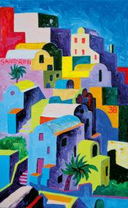 Santorini rütmid. Akrüül lõuendil / Rhythms Santorini. Acrylic on canvas. 90 x 60 cm. 2012
