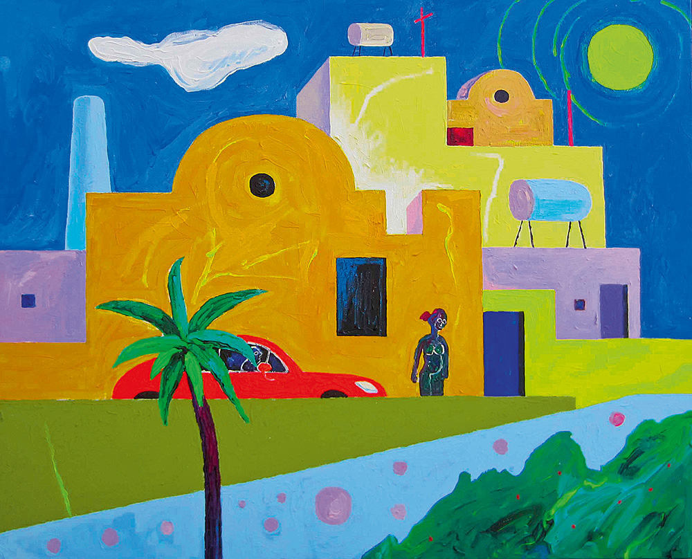 Santorini tänav. Akrüül lõuendil / Santorini street. Acrylic on canvas. 100 x 120 cm. 2012