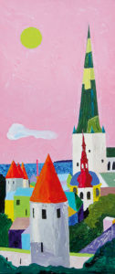 Tallinn roosa taevaga. Akrüül lõuendil / Tallinn with a pink sky. Acrylic on canvas. 30 x 70 cm. 2014