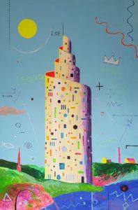 Tigutorn. Akrüül lõuendil. / Snailtower. Acrylic on canvas. 225 x 160 cm, 2018