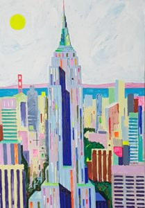 Torn New Yorkis. Akrüül lõuendil. / Tower in New York. Acrylic on canvas. 120 x 80 cm, 2018