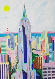 Torn New Yorkis. Akrüül lõuendil. / Tower in New York. Acrylic on canvas. 120 x 80 cm, 2018