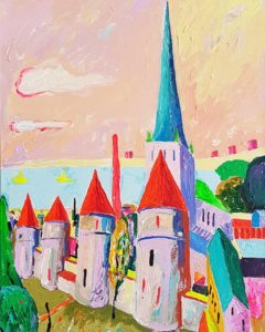 Tornide Väljak. Akrüül lõuendil. / Square of Towers. Acrylic on canvas. 70 x 50 cm, 2016