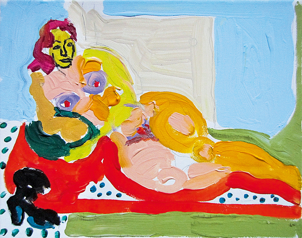 Tüdruk diivanil. Akrüül lõuendil / Girl on the couch. Acrylic on canvas. 24 x 30 cm. 2012