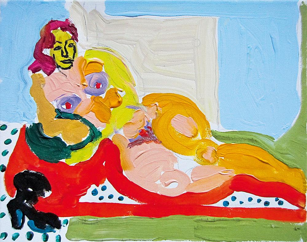 Tüdruk diivanil. Akrüül lõuendil / Girl on the couch. Acrylic on canvas. 24 x 30 cm. 2012