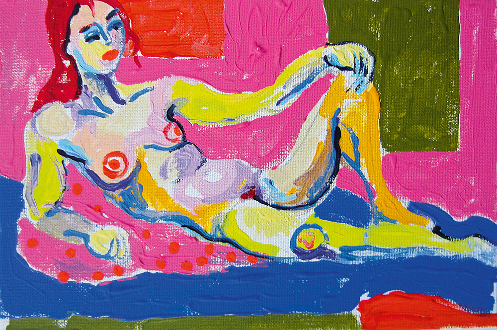 Tüdruk roosas ruumis. Akrüül lõuendil / Girl in a pink room. Acrylic on canvas. 20 x 30 cm. 2015