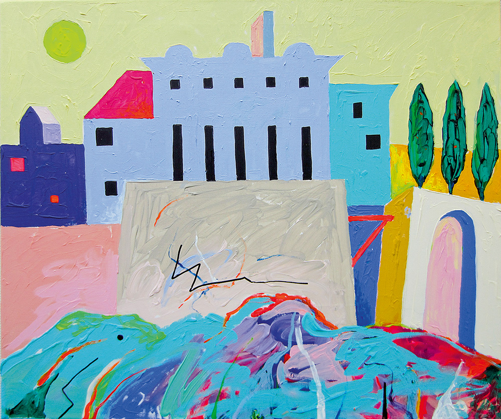 Ülemine linn. Akrüül lõuendil. / Uptown. Acrylic on canvas. 50 x 70 cm. 2015