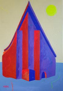 Nurgamaja. Akrüül lõuendil / Corner house. Acrylic on canvas. 50 x 40 cm. 2016