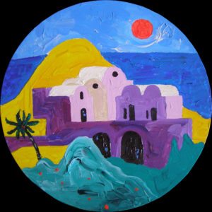 Ümar Santorini. Akrüül lõuendil / Santorini at the circle. Acrylic on canvas. Ø 105 cm, 2016 (Erakogu / Private Collection)